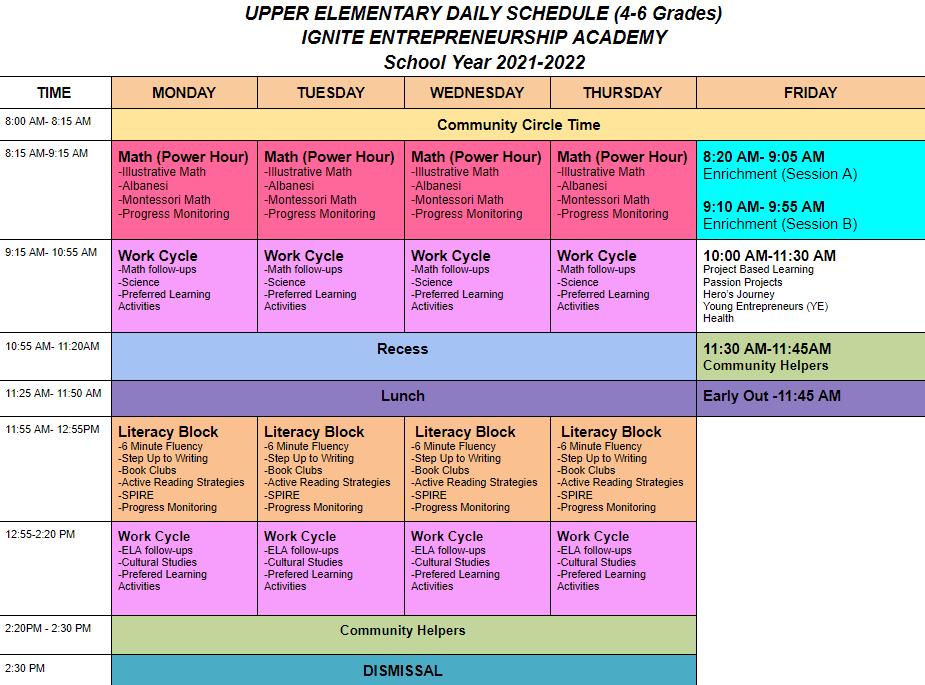 UE schedule (web version)